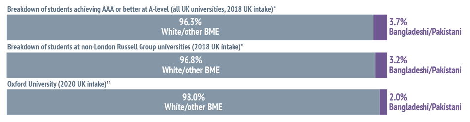 Bar chart showing: Breakdown of students achieving AAA or better at A-level (all UK universities, 2018 UK intake)* - 96.3% White/other BME and 3.7% Bangladeshi/Pakistani. Breakdown of students at non-London Russell Group universities (2018 UK intake)* - 9