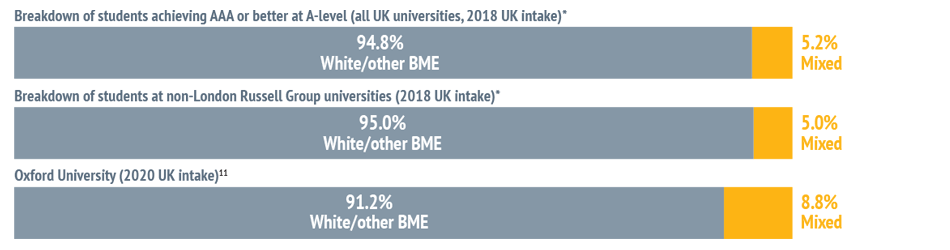 Bar chart showing: Breakdown of students achieving AAA or better at A-level (all UK universities, 2018 UK intake)* - 94.8% White/other BME and 5.2% Mixed. Breakdown of students at non-London Russell Group universities (2018 UK intake)* - 95.0% White/other