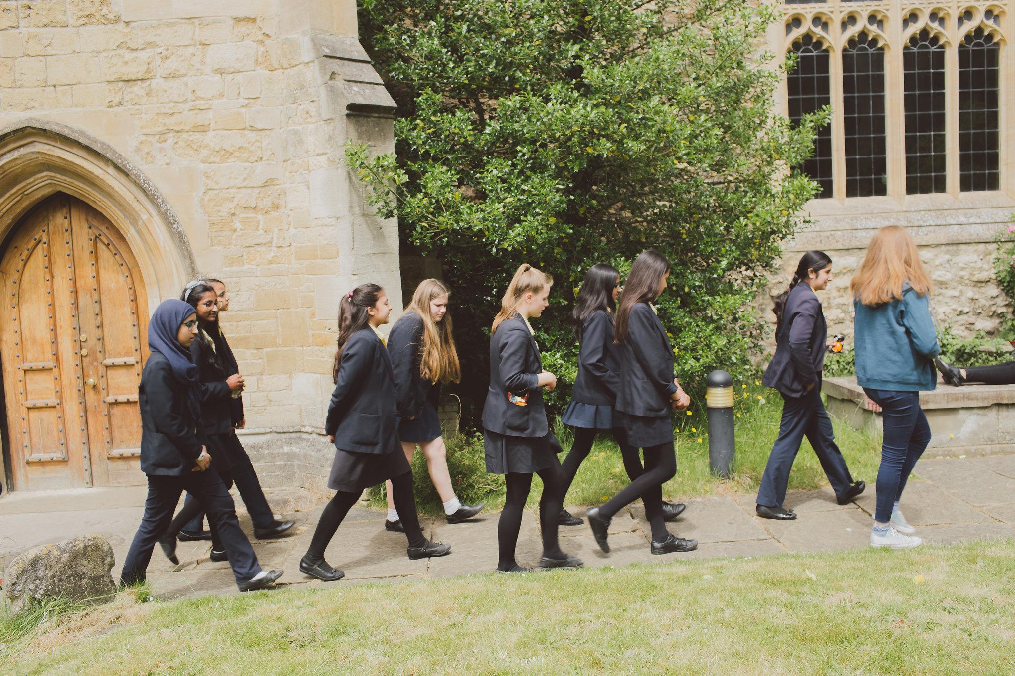 Prospective students visiting St Edmund Hall.