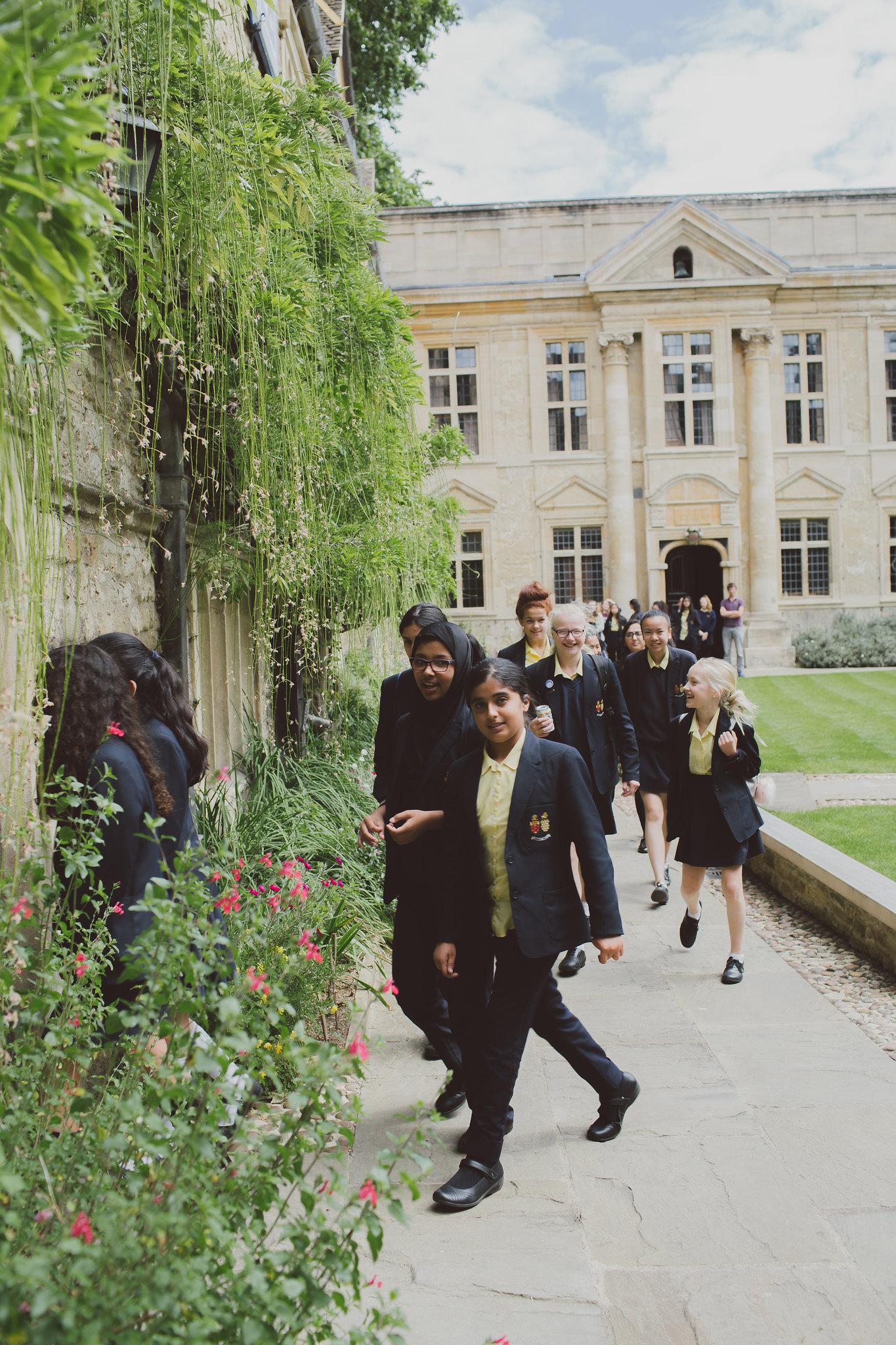 A school group visiting St Edmund Hall, Oxford.