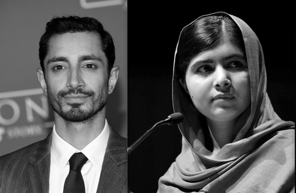 Black and white images of Riz Ahmed and Malala Yousafzai