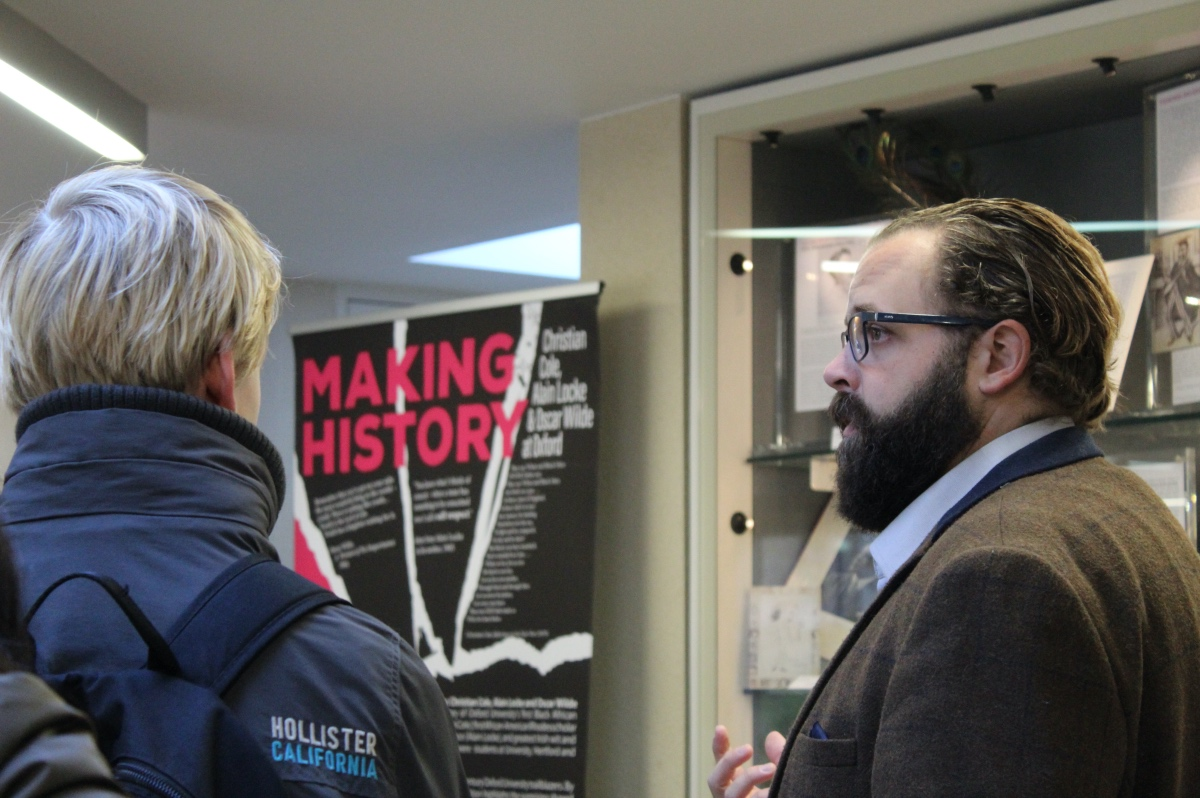 Prospective students enjoying the 'Making History' exhibition at Magdalen College.