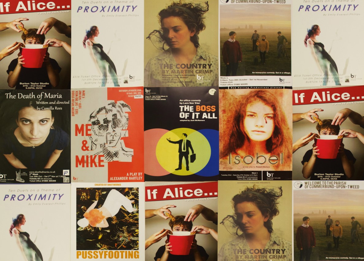 A variety of posters for Oxford student theatre productions