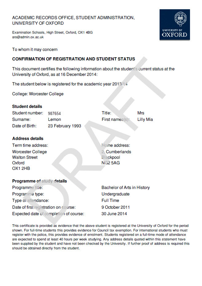 Student self service university of oxford ssp enrolment certificate yelopaper Images