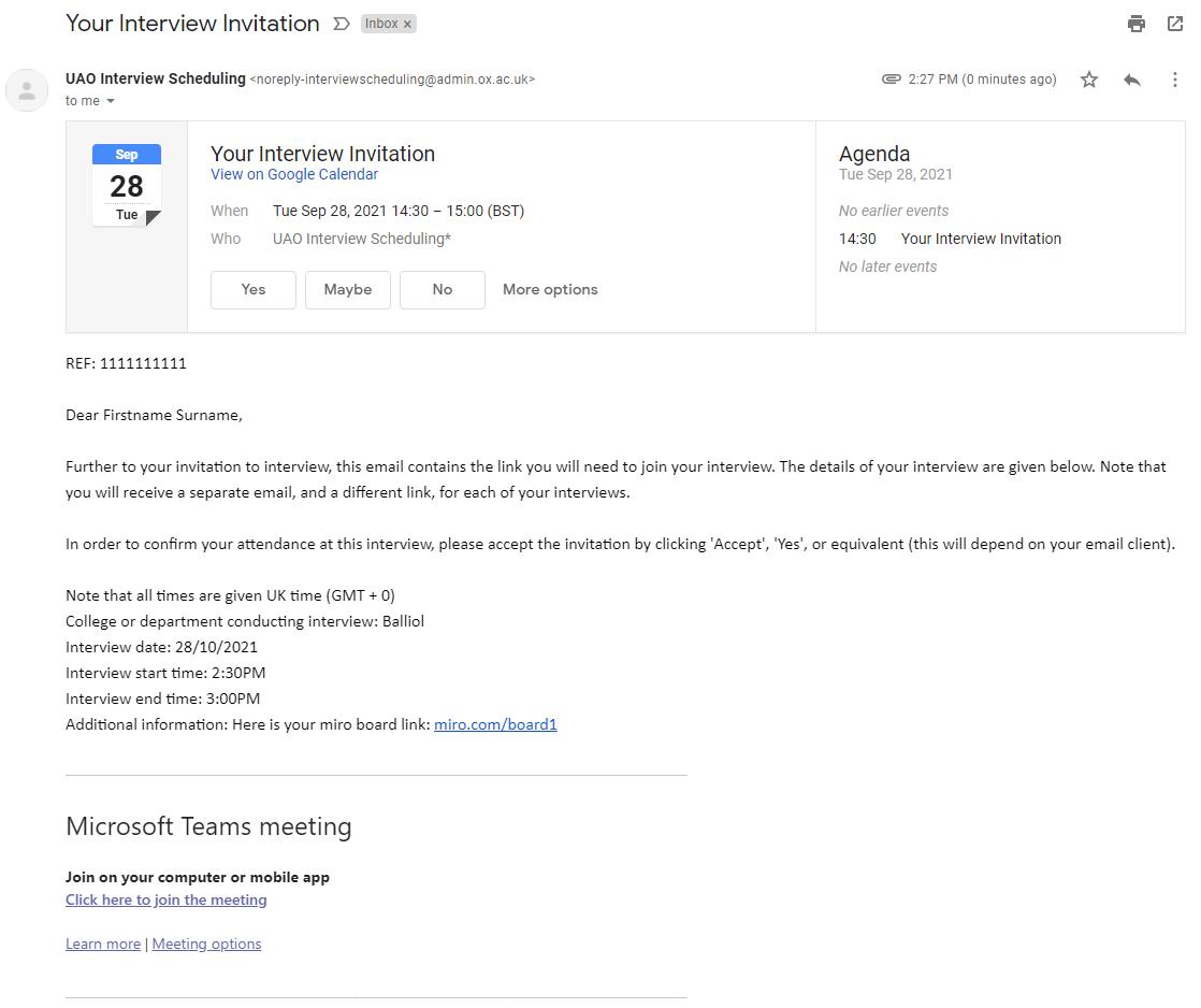 A screenshot of a calendar invitation for an undergraduate interview
