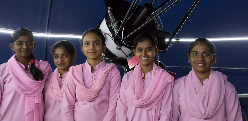 A group of students at the India school observatory (photograph taken before the pandemic lockdown of 2020)