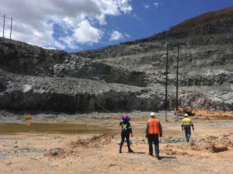 Walking through South African mine