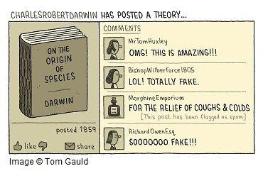 Spoof social media post by Charles Darwin, posting 'On the Origin of the Species'