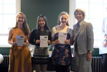 The University of Oxford Vice-Chancellor with three Vice-Chancellor's Social Impact Awards winners