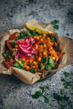 Chana fries photo from 'Jackfruit and Blue Ginger' recipe book by Oxford student Sasha Gill