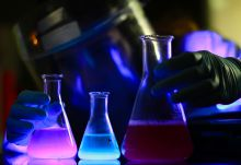Chemical flasks with luminescent contents