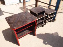 Shelving made of wooden flooring.