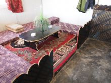 Another table made of wooden flooring.
