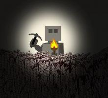 Robot in Minecraft mining ore