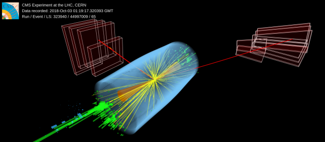 Event in which a candidate Higgs boson produced by vector boson fusion (VBF) decays into two muons