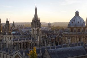 The Oxford skyline including the Radcliffe Camera at dusk