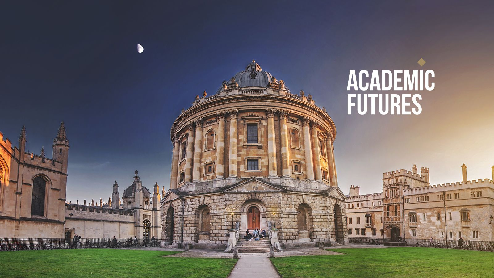 Radcliffe Camera in Radcliffe Square Oxford at dawn with Academic Futures logo