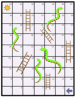 Illustration of a board game of snakes and ladders