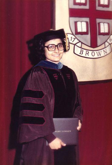 The young Dr Aditi Lahiri, winning her doctorate at Brown.