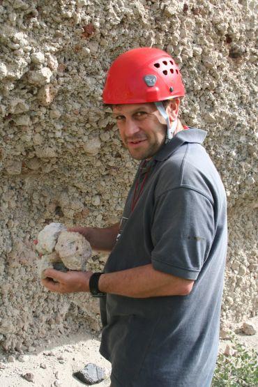 Professor Pyle on a field trip to Santorini, Greece