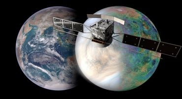 EnVision: illustration of Earth and Venus with satellite