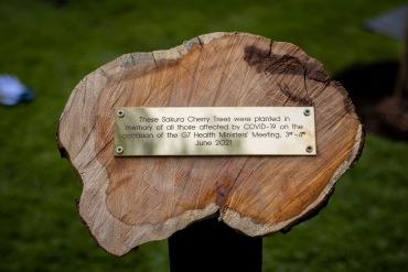 Image of the plaque from the tree-planting ceremony, which reads 'These Sakura Cherry Trees were planted in memory of all those affected by COVID-19 on the occasion of the G7 Health Ministers' Meeting 3-4 June 2021'