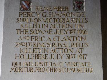 Mansfield College Chapel War Memorial