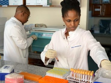Two people in a laboratory