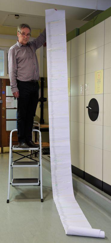 Professor Robert Scotland holding the Ipomoea family tree