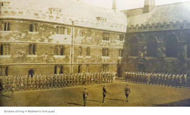 Soldiers drilling in Wadham's front quad