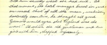 Diary extract from 1914 summer holidays in Germany