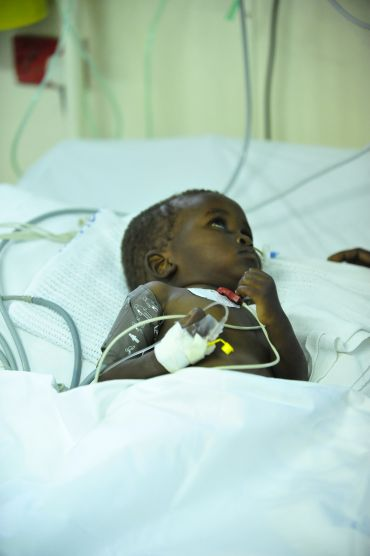 A child with malaria in Kenya