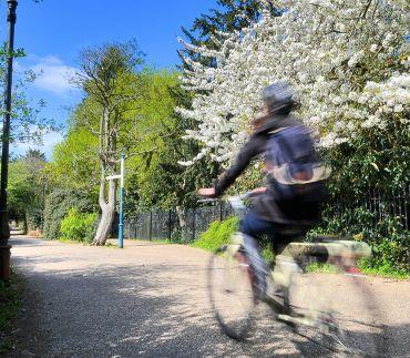 Cycling beside University Parks