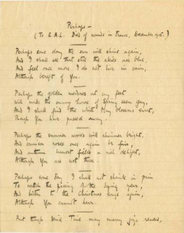 Perhaps, manuscript, (1934), Vera Brittain