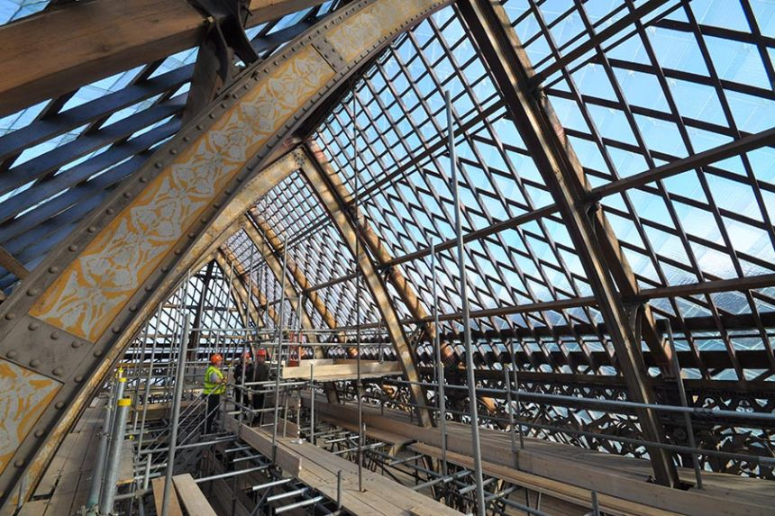 Scaffolding under the glass roof