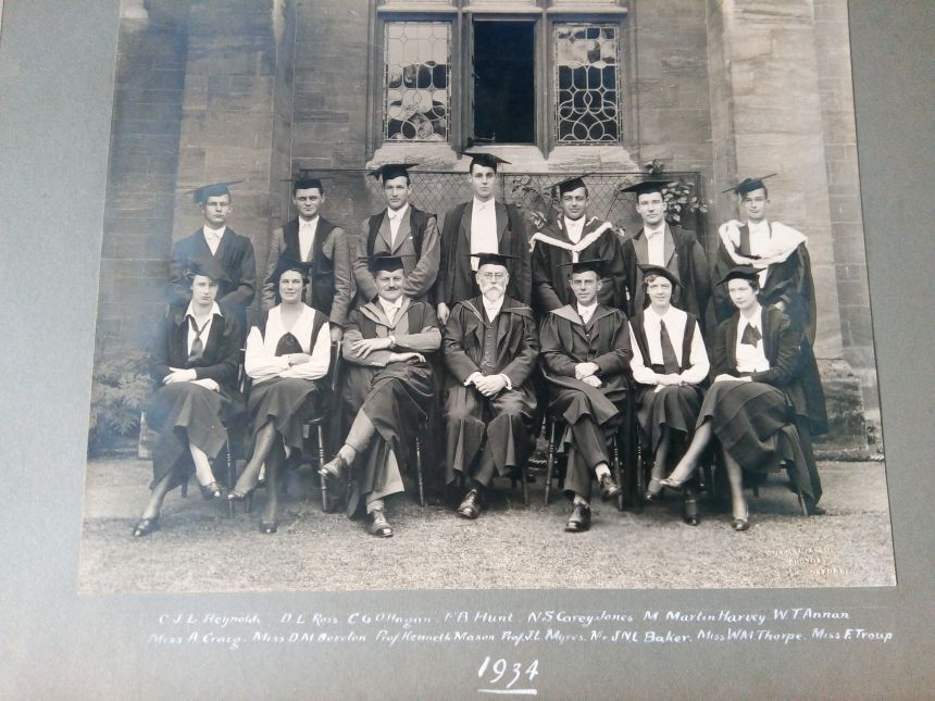 Pictured are some of the first graduates of the Final Honour School in Geography in 1934, which is what the BA Geography degree has been known as since it was first introduced in 1932