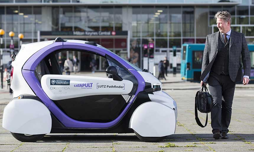 Photograph of a self-driving car