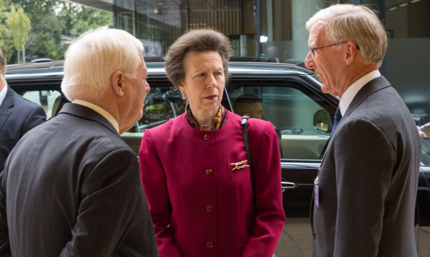 The Princess Royal was met by the Chancellor of Oxford University and James Davis of the Kennedy Trust.