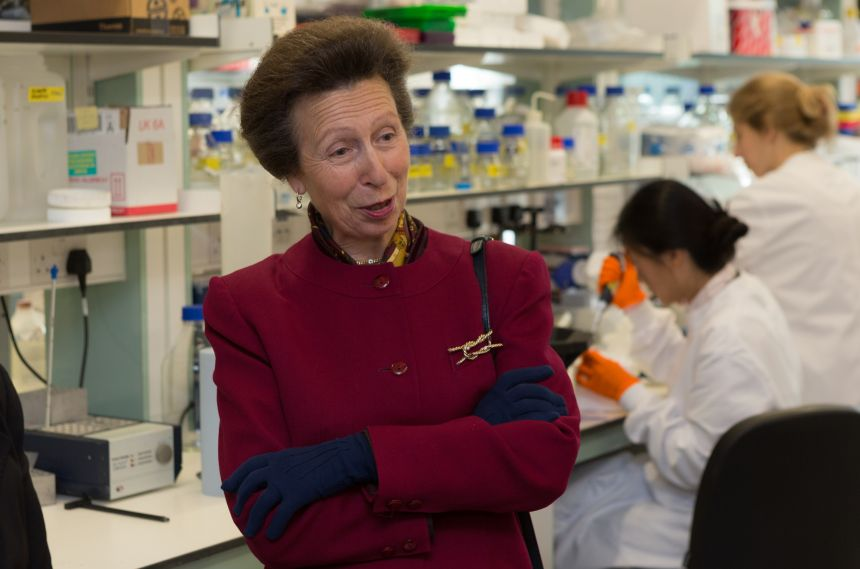 The Princess Royal was given a tour of the labs.