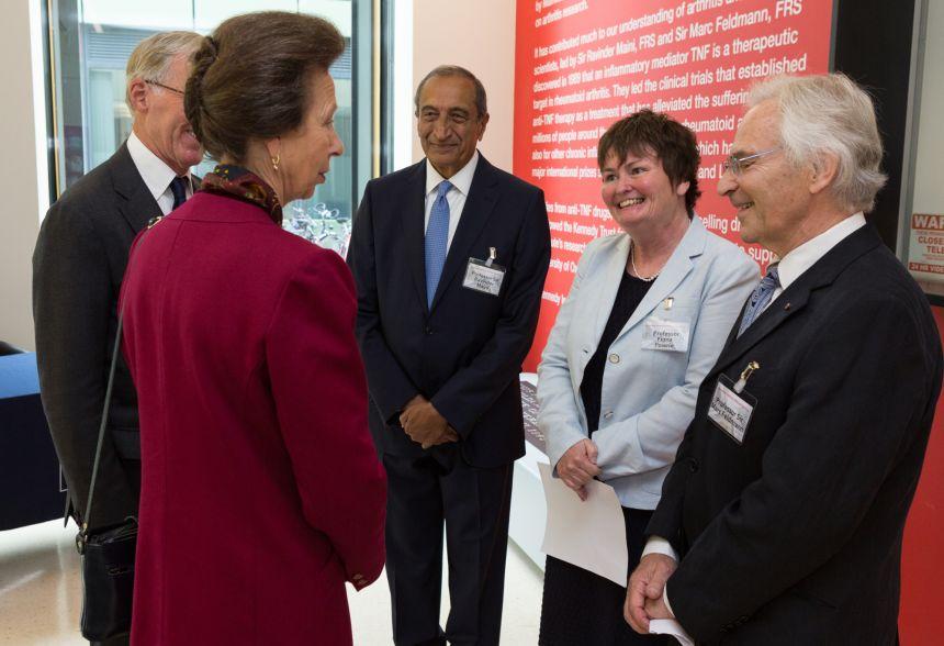 Princess Royal meets (l-r) Professor Sir Ravinder Maini, Professor Fiona Powrie and Professor Sir Marc Feldmann.