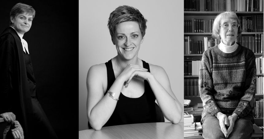 Left to right: Joanne Wicks QC, rower Stephanie Cullen and emeritus fellow in Classics Stephanie West