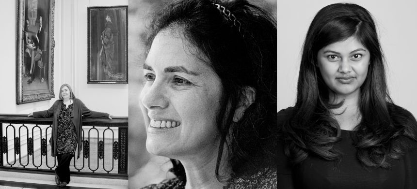 Left to right: curator Xanthe Brooks, philosopher Julia Briggs, and Thouron scholar and novelist Shahnaz Ahsan