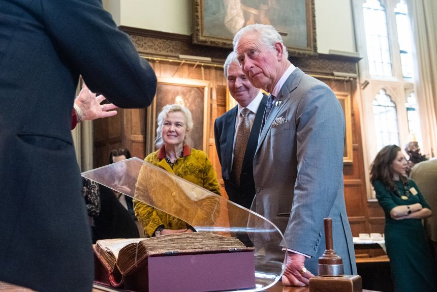 While in Hall at Jesus College, His Royal Highness viewed the Red Book of Hergest, which is owned by College and kept at the Bodleian Library. Image by John Cairns
