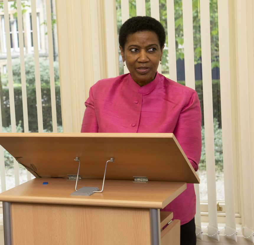 UN Under Secretary-General Dr Phumzile Mlambo-Ngcuka speaking at Oxford's commitment to HeForShe