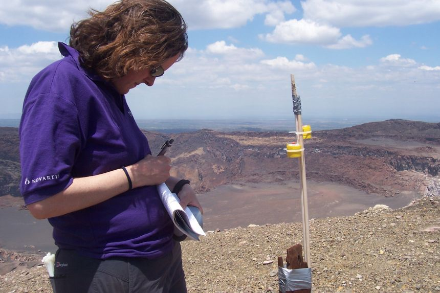 A shot of Professor Mather at the top of Masaya volcano, Nicaragua, deploying diffusion tubes to measure gas concentration levels. Copy Right: Tamsin Mather
