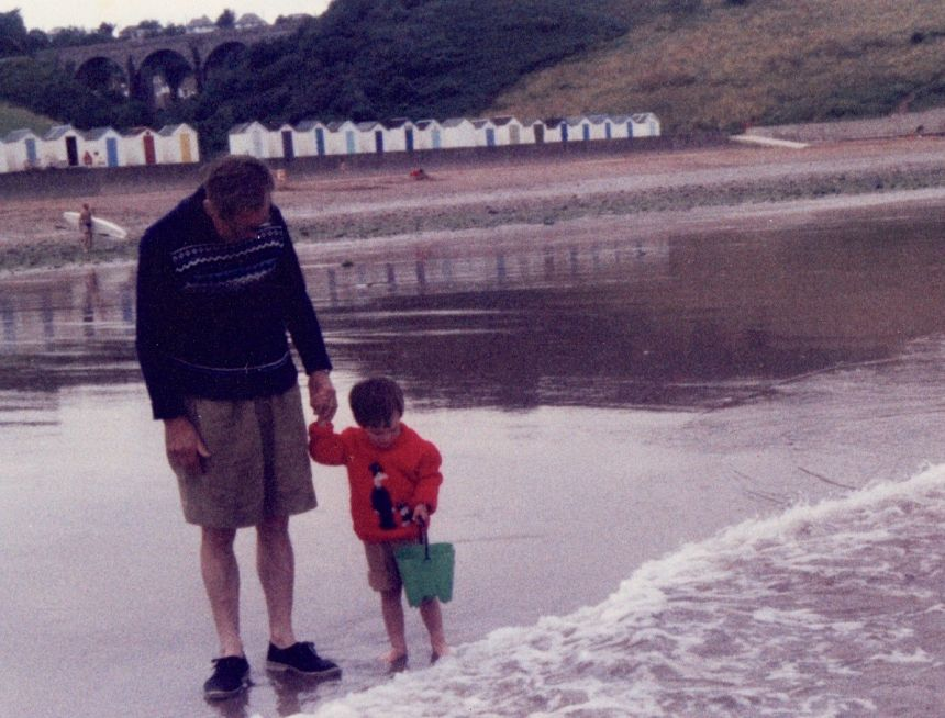 Alan Adcock giving his Grandson early lessons in coastal engineering
