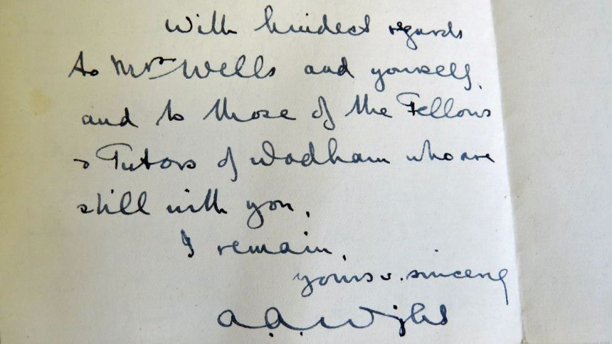 A A Wright Wadham letter, University of Oxford, World War 1
