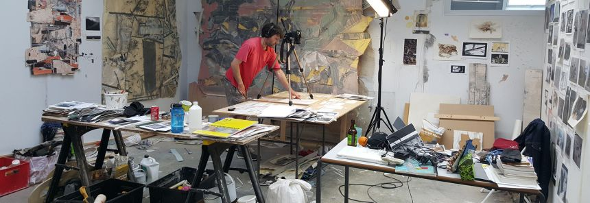 An MFA student at work in his studio