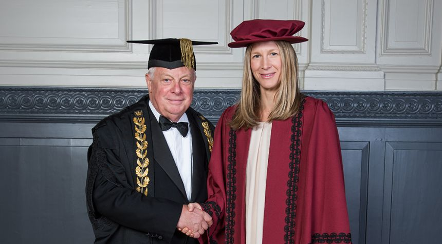 Dr Marcy McCall MacBain with Lord Patten
