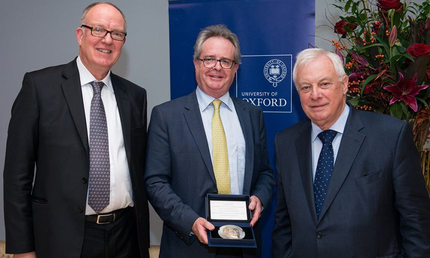 Richard Ovenden, Guy Weston and the Chancellor with the Sheldon Medal